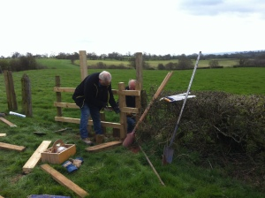 Jeff and Richard nailing the new stile together