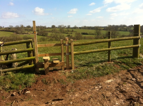 New stile and reconstructed fencing